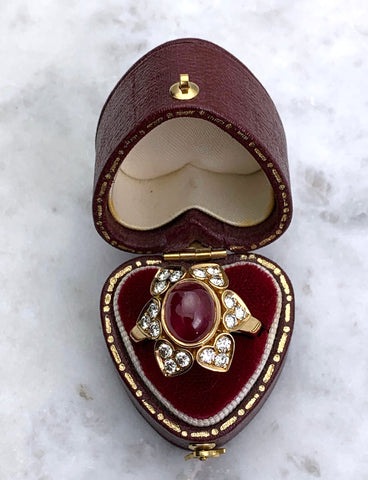 18K Gold Ruby Cabochon & Diamond Estate Ring