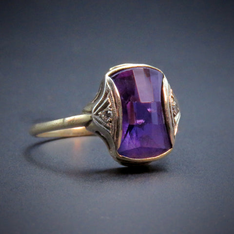 Antique Art Deco 14K, Purple Topaz & Diamond Ring