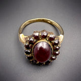 SOLD-- Antique 9K, 14K & Garnet Conversion Ring