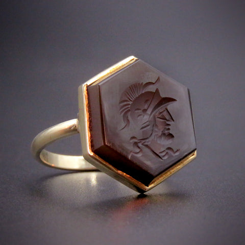 14K & Intaglio Hardstone Roman Guard Conversion Ring