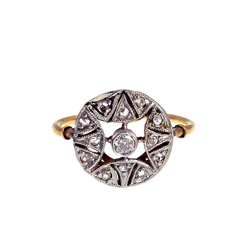 Art Deco 18K & Diamond Ring