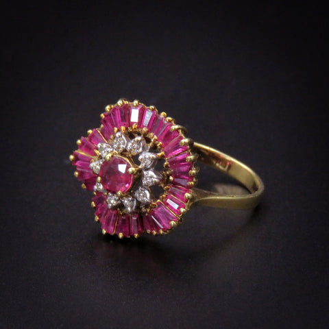 "Vintage 18K Gold Natural Ruby Diamond ""Ballerine"" Ring"