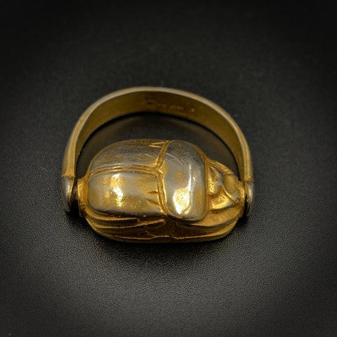 Antique Gold Over Silver Scarab Flip Ring