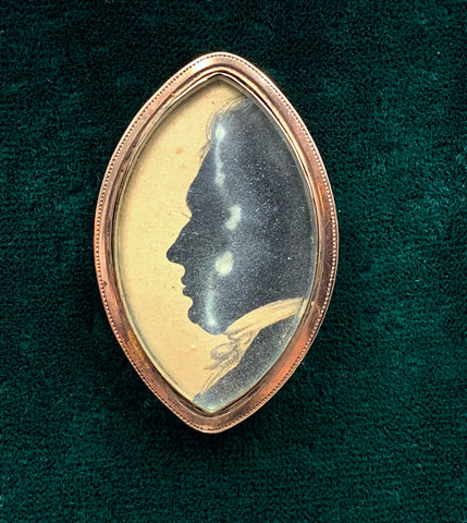 Handsome 12k Victorian Memorial Silhouette & Hair Brooch