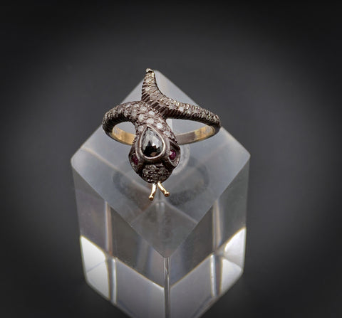 Silver,10 Karat Gold, Black Diamond, Ruby & White Diamond Snake Ring