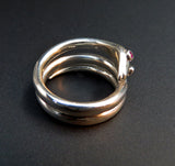 Koven-Created Victorian Inspired 14K Gold or Sterling Snake Ring With Ruby Eyes