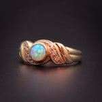 SOLD--9k Opal and Diamond Solitaire Ring