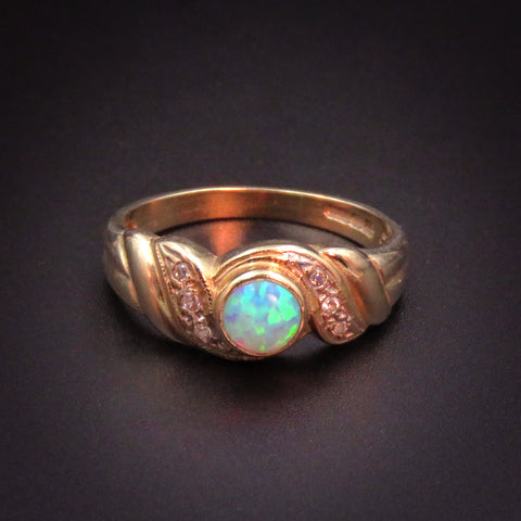9k Opal and Diamond Solitaire Ring