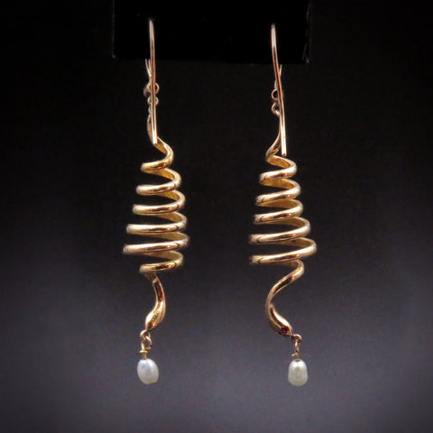 Fun 14K Gold Coiled Snake Earrings
