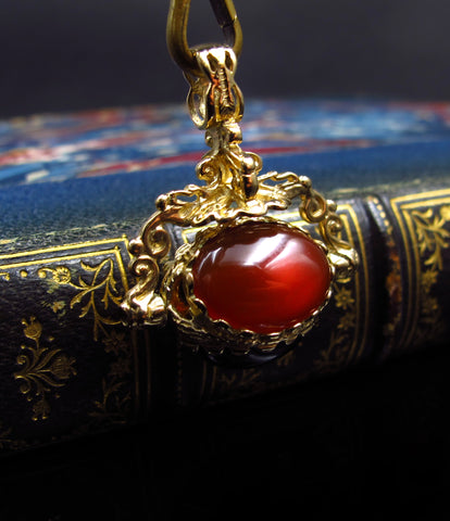 Onyx Tiger-Eye and Carnelian Rotating Pendant Charm in 15k Gold