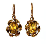 Foiled Citrine 9k Gold Earrings Early 20th Century -- FC '19