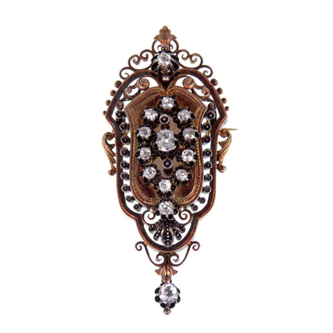 19th Century Rose-cut Diamond and 14k Brooch/Pendant