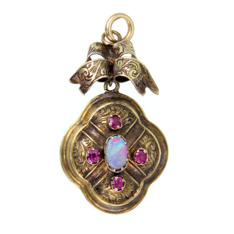 KATHY  Opal and Ruby 18k Gold Pendant