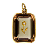 """Rose of Sharon"" Inlay Smokey Quartz 14k Gold Pendant c.1890 with inset Diamond"