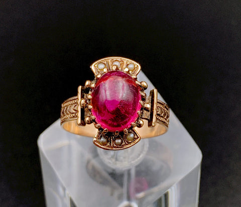 SOLD Victorian 14K Rose Gold, Rose Tourmaline & Seed Pearl Ring