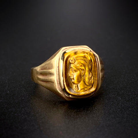 Antique 10K & Tiger's Eye Bas Relief Cameo Ring