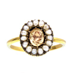 Topaz and Pearl Halo 14k Gold Conversion Ring