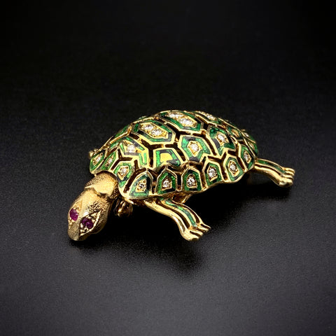 Vintage 14K Gold, Enamel, Ruby & Diamond Turtle Brooch
