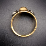 SOLD--Early Victorian 15K Gold, Silver, & Old Mine-Cut Diamond Memento-Mori Ring