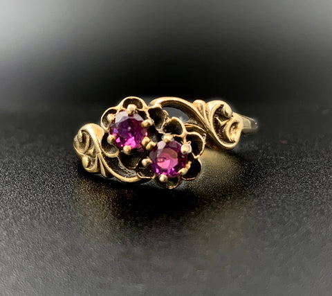 14k Victorian Floral Ruby Ring