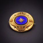 15K Gold, Blue Enamel, Seed Pearl & Hair Half- Mourning Brooch