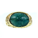 Vintage Egyptian Revival Green Jade Scarab 14k Gold Ring