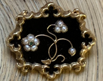 SOLD--9K Gold, Black Enamel, Pearl & Paste Emerald Mourning Brooch/Pendant