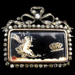SOLD--French Napoleon III Silver & 9k Gold Paste Brooch