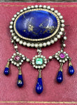 Lapis Pearl and Gemstone Silver Brooch