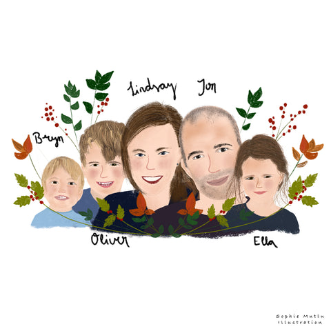Custom family illustration with flowers