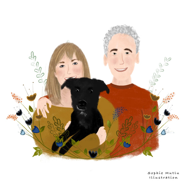 Couple portrait illustration with dog and flowers
