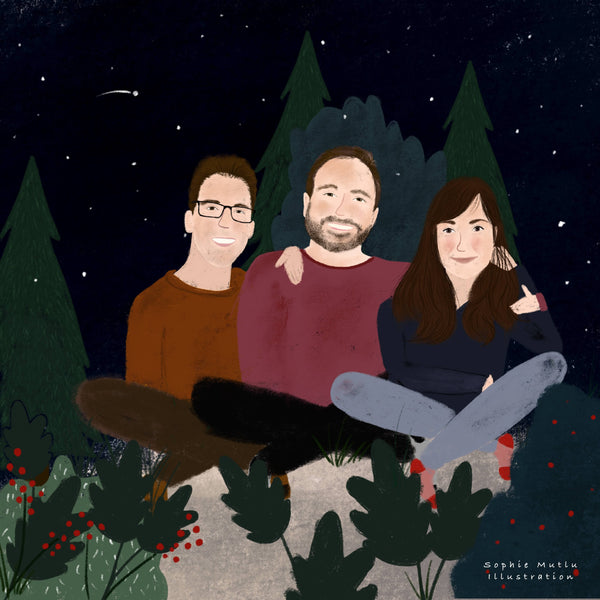 Family portrait illustration of siblings surrounded by nature