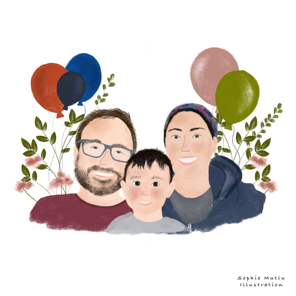 Family illustration portrait with kid and colorful balloons