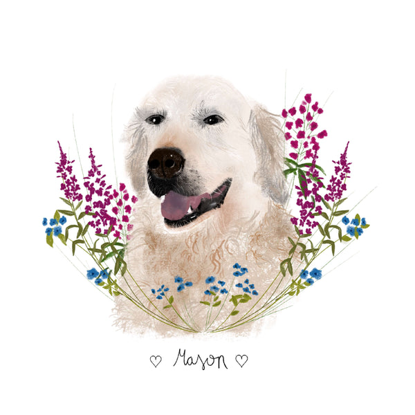 Custom portrait illustration of a dog surrounded by flowers