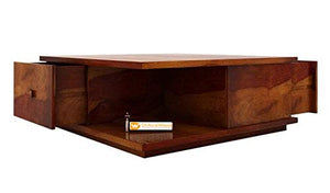 DriftingWood Sheesham Wood Hammond Coffee Table with Drawer for Living Room | Center Table | Honey Finish