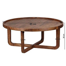 Load image into Gallery viewer, DriftingWood Sheesham Wood Round Curve Coffee Table for Living Room | Center Table | Light Brown