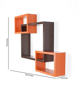 Driftingwood Wall Shelf Rack Set of 3 Intersecting Wall Shelves - Black & Orange