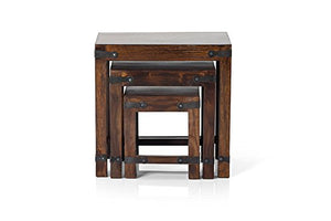 Driftingwood Nesting Tables Set of 3 Stools - Walnut Finish, Brown