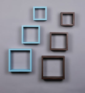 Driftingwood Nesting Square Wall Shelf for Living Room | Set of 6 | Sky Blue and Brown