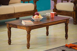 Driftingwood Solid Sheesham Wood Maharaja Center Coffee Table for Living Room | Honey Finish