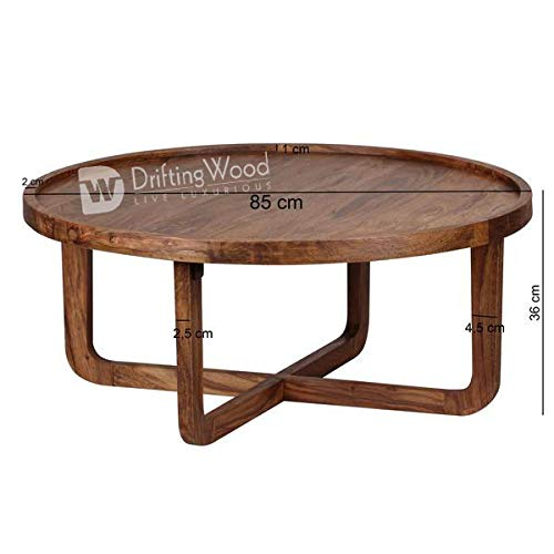 Wood Round Table.Driftingwood Sheesham Wood Round Curve Coffee Table For Living Room Center Table Light Brown