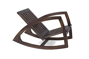 Driftingwood Wooden Styllish Rocking Chair for Living Room Without Cushions - Walnut Brown