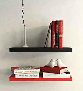 DriftingWood Floating Wall Shelf for Living Room | Set of 2 Wall Shelves | 12 inch | Black and Red