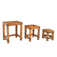 Load image into Gallery viewer, Driftingwood Nesting Tables Set of 3 Stools - Teak Finish, Brown