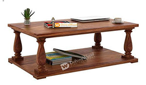 DriftingWood Sheesham Wood Barnett Center Table for Living Room | Coffee Table | Natural Brown