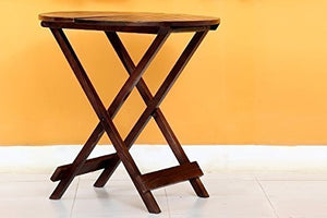 Driftingwood Sheesham Wood Round Dining Table Set and Folding Chairs for Living Room | Set of 3 | Rich Walnut Finish
