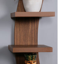 Load image into Gallery viewer, Driftingwood Wall Shelf Rack Curve Shape 5 Tier Wall Shelves - Natural Brown Laminated