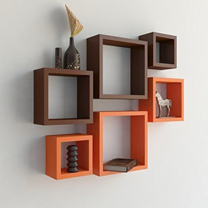 Driftingwood Nesting Square Wall Shelf for Living Room | Set of 6 | Orange and Brown