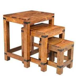 Driftingwood Nesting Tables Set of 3 Stools - Teak Finish, Brown