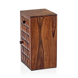 Driftingwood Sheesham Wood Bowley Stroage Bedside End Table for Living Room | 1 Drawer and 1 Door Side Table | Honey Finish